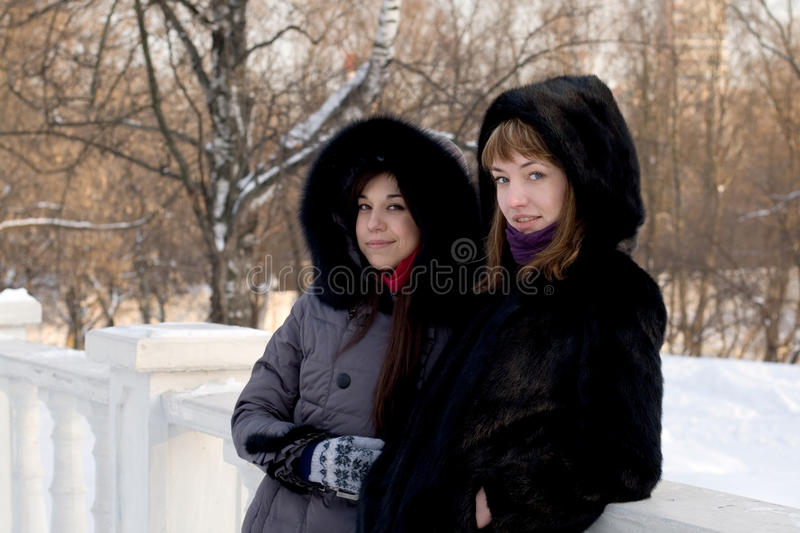 Two female friends walking in park royalty free stock photography