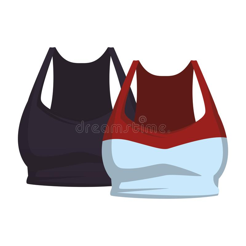 Two female sport tops clothes. Collection vector illustration graphic design vector illustration