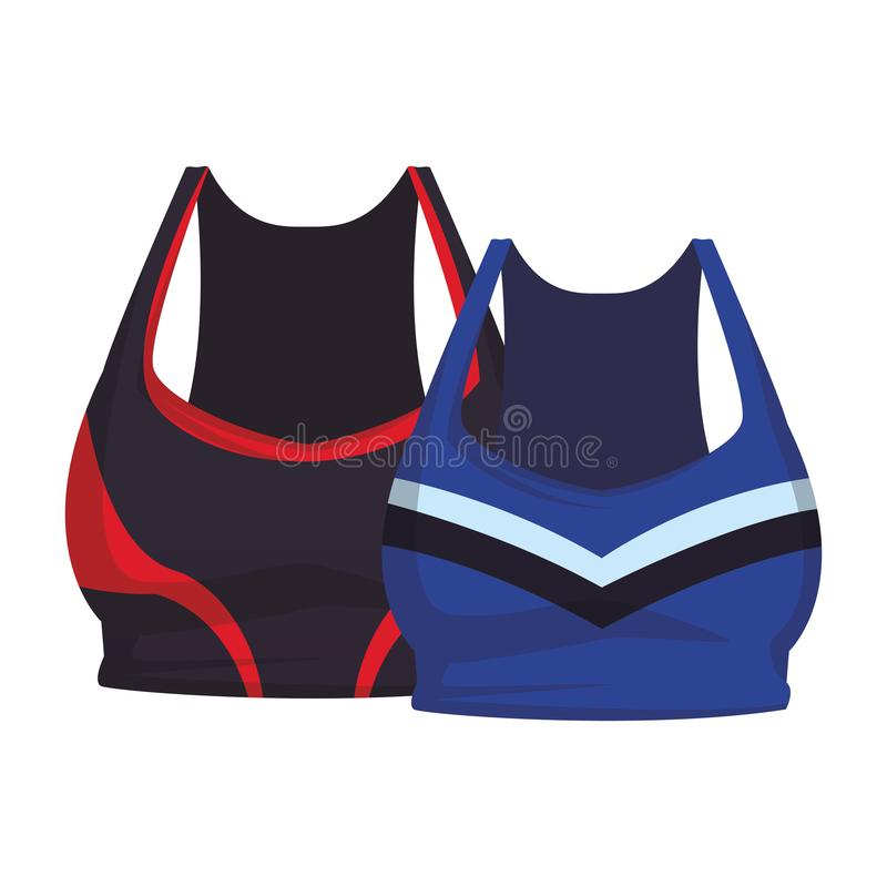 Two female sport tops clothes. Collection vector illustration graphic design stock illustration