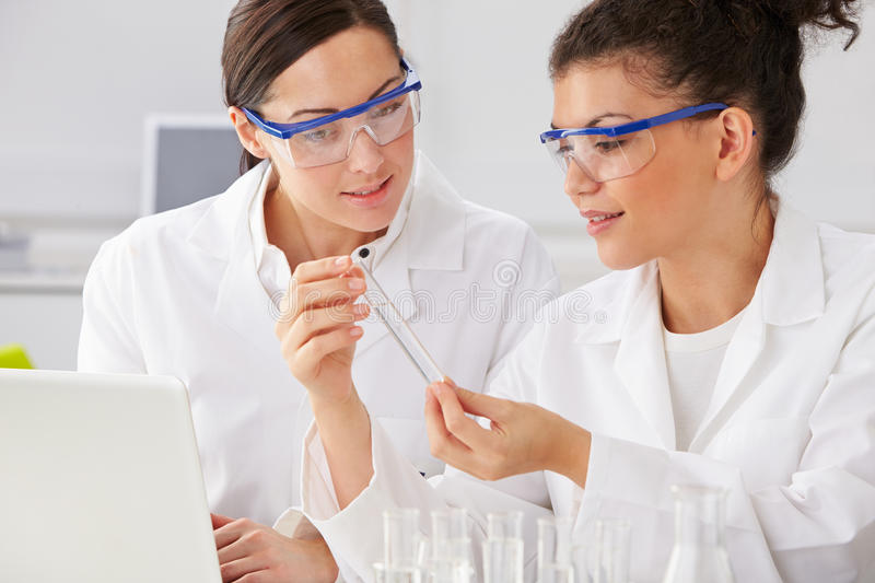 Two Female Technicians Working In Laboratory royalty free stock images