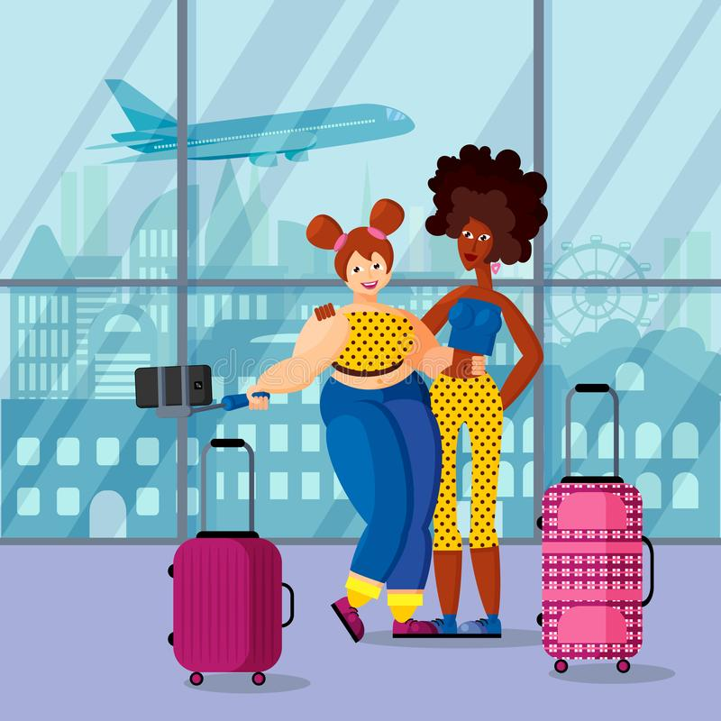 Two female travelers African-American and European make selfie in airport. Two happy beautiful female traveler slender African-American and buxom European make vector illustration