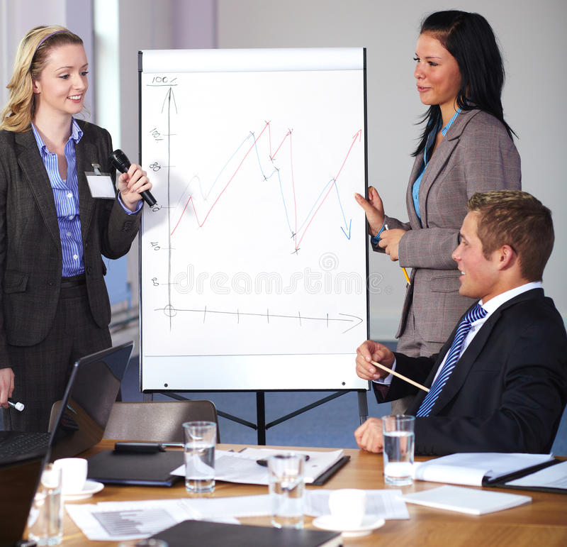 Two females present graph on flipchart. Two females standing and present graph on flipchart during business meeting, have an argue with men sitting at conference stock images