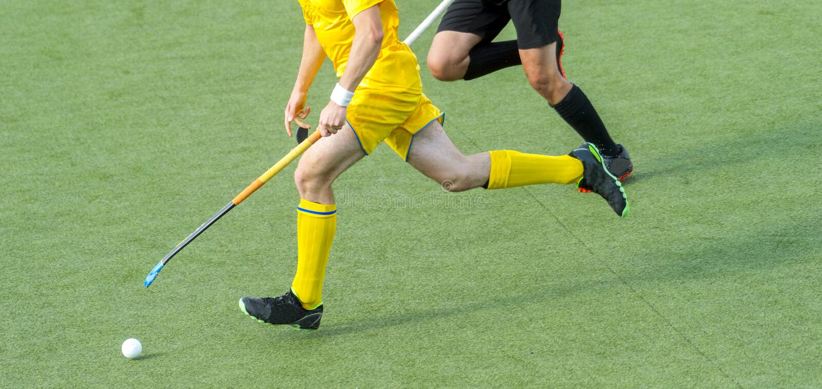 Two field hockey player, fighting for the ball on the midfield during an intense match on artificial grass.  stock photography