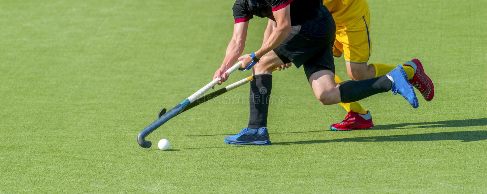 Two field hockey player, fighting for the ball on the midfield during an intense match on artificial grass.  royalty free stock images
