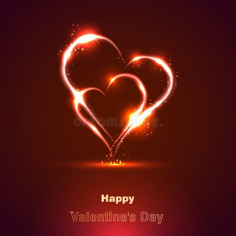 two fiery heart, Happy Valentine's Day stock photos