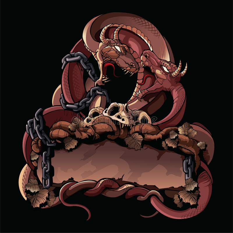 Free Two Fighting Dragons. Ornate Design Element. Stock Photography - 63302202