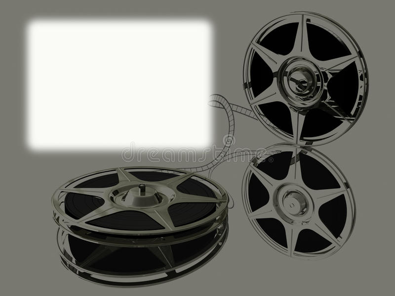 Two film-roll on mirrow and white screen royalty free illustration