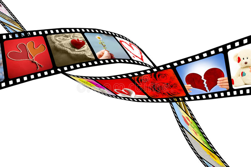 Two films with images that represent love and hearts royalty free stock images
