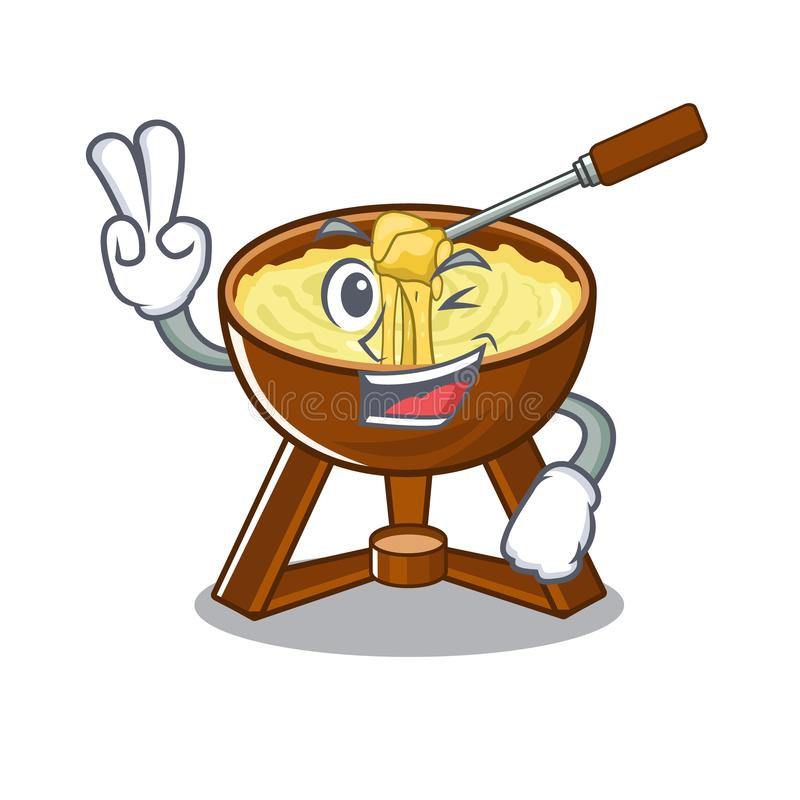 Two finger cheese fondue with in mascot shape. Vector illustration vector illustration