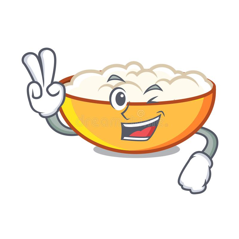 Two finger cottage cheese character cartoon. Vector illustration stock illustration