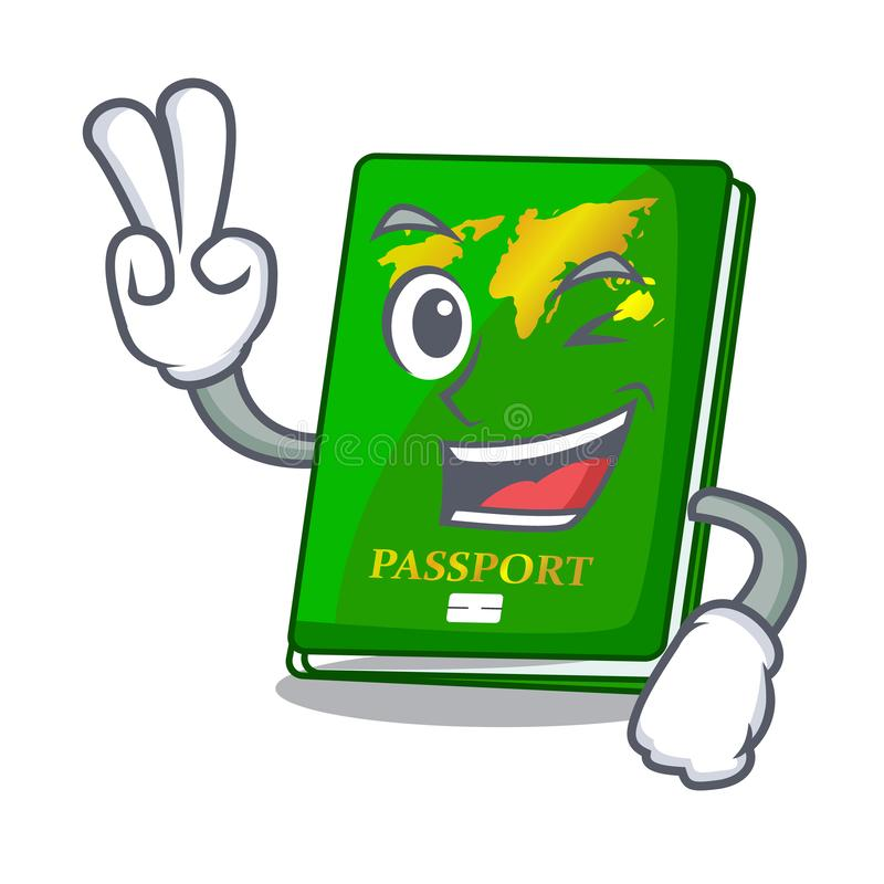 Two finger green passport in the cartoon shape. Vector illustration royalty free illustration