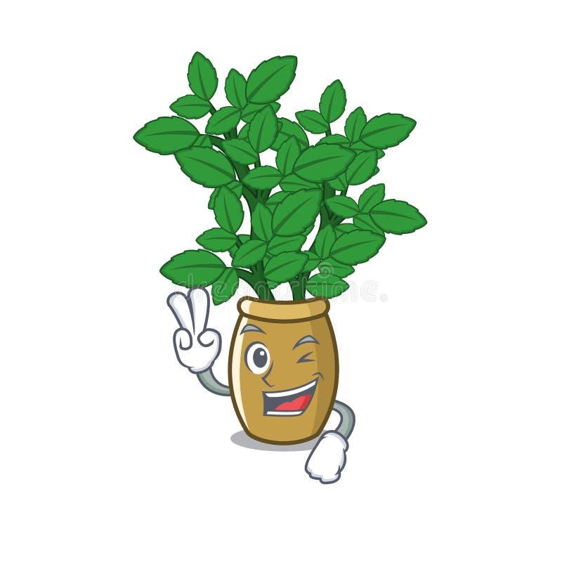 Two finger lemon balm in a mascot pot royalty free illustration