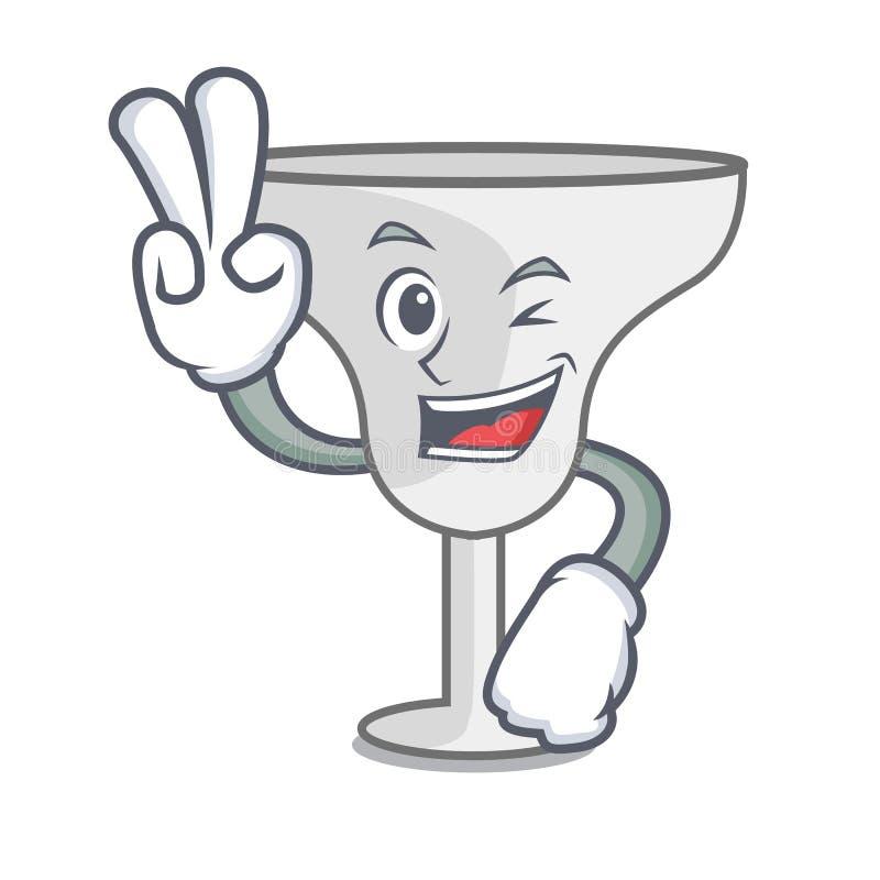 Two finger margarita glass character cartoon. Vector illustration vector illustration