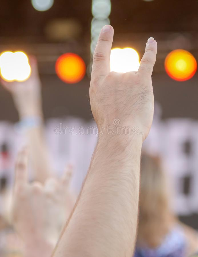 Two fingers on the hand at the concert royalty free stock images