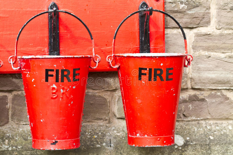 Two Fire Buckets stock images