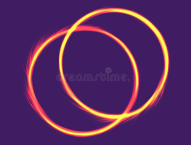 Two fire rings.. Electric Banner Design . Neon Abstract Circle with Flares and Sparkles. Vector Illustration vector illustration