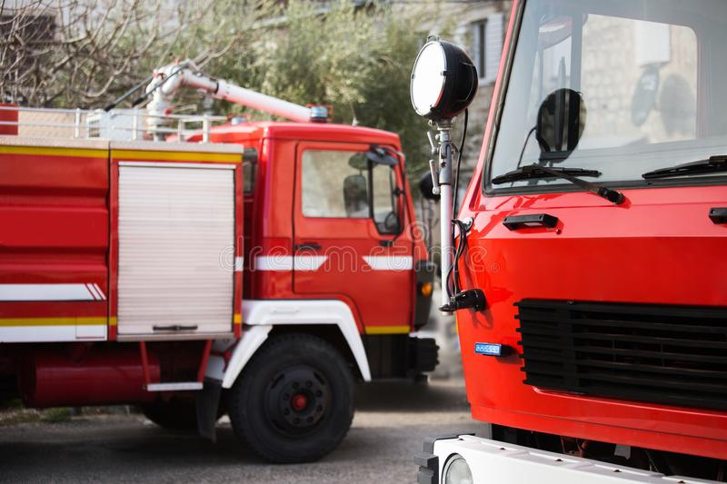 Two fire trucks. Fire trucks at the fire station royalty free stock photos