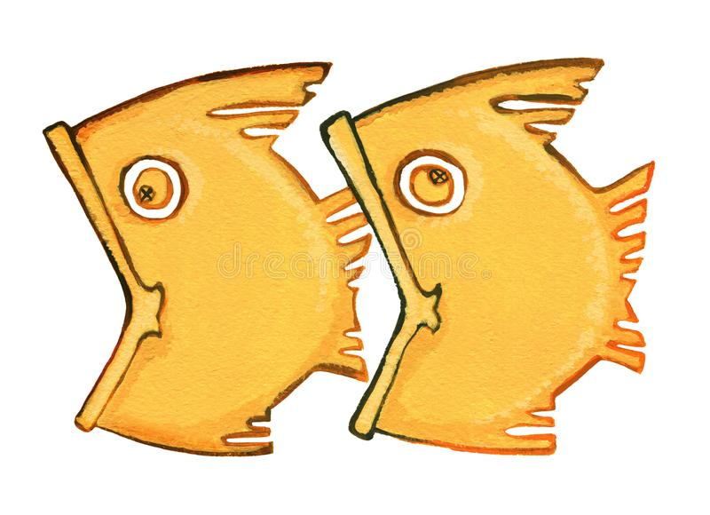 Two fish swimming one after another. Astrological sign of the zodiac Pisces as gingerbread, isolated on a white background. Two fish swimming one after another vector illustration