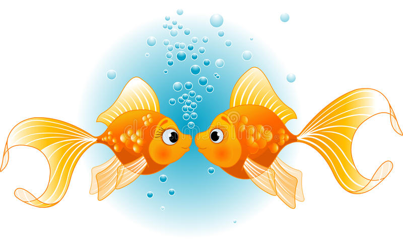 Two fishes in love stock vector illustration of scene for I love the fishes