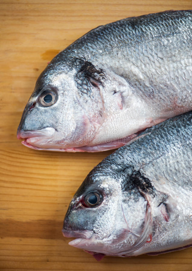 Two fishes ready for cooking. Close up stock images
