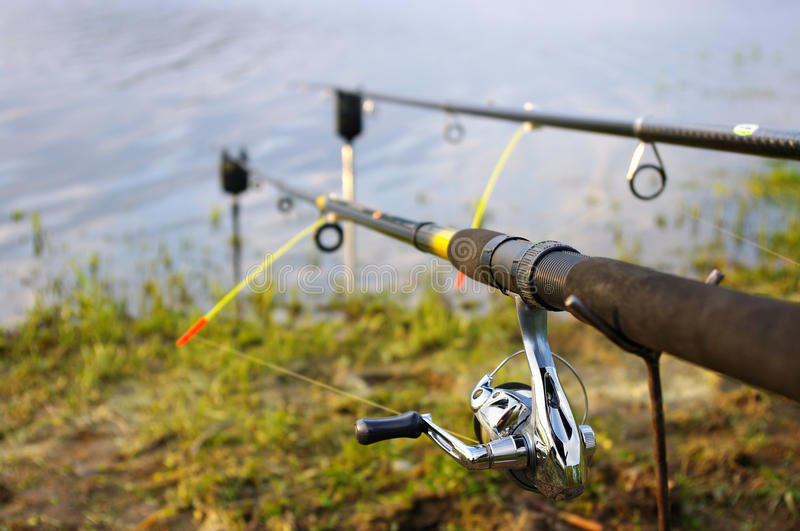 Download Two fishing rods stock photo. Image of fishing, line - 18027434