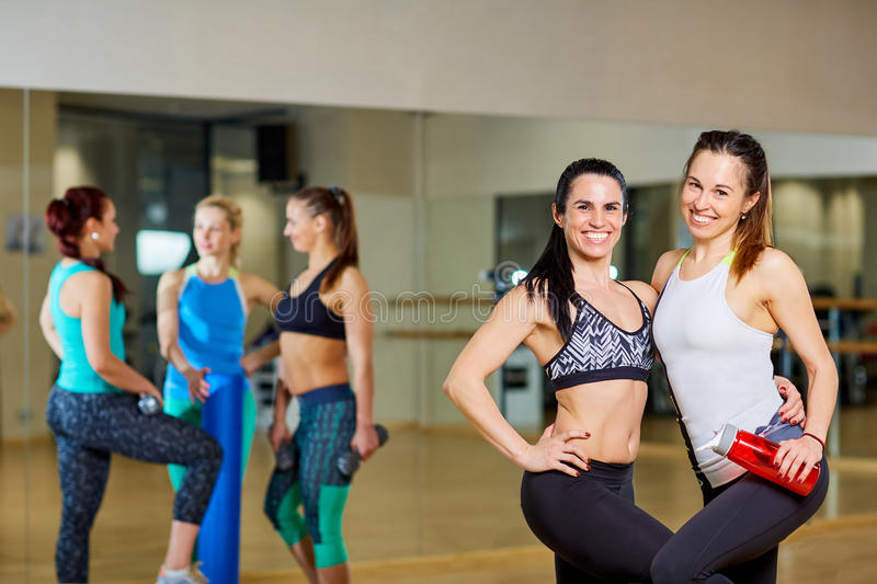 Two fitness girls in the gym of group training royalty free stock image