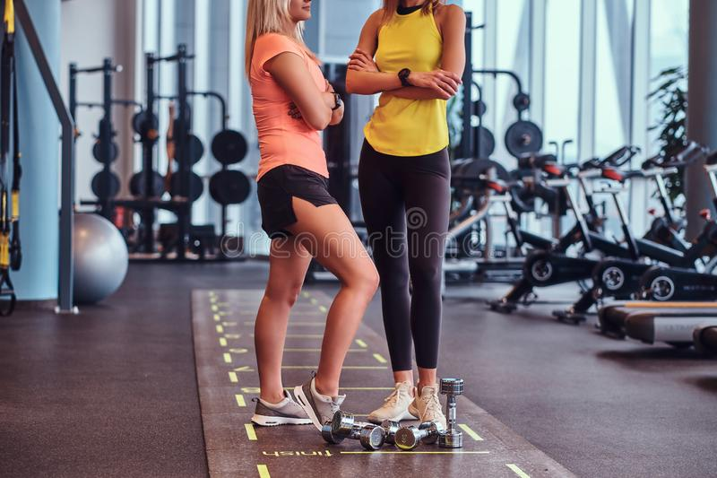 Two fitness girls in sportswear standing with crossed arms and talking about proper nutrition in the modern gym. royalty free stock photography