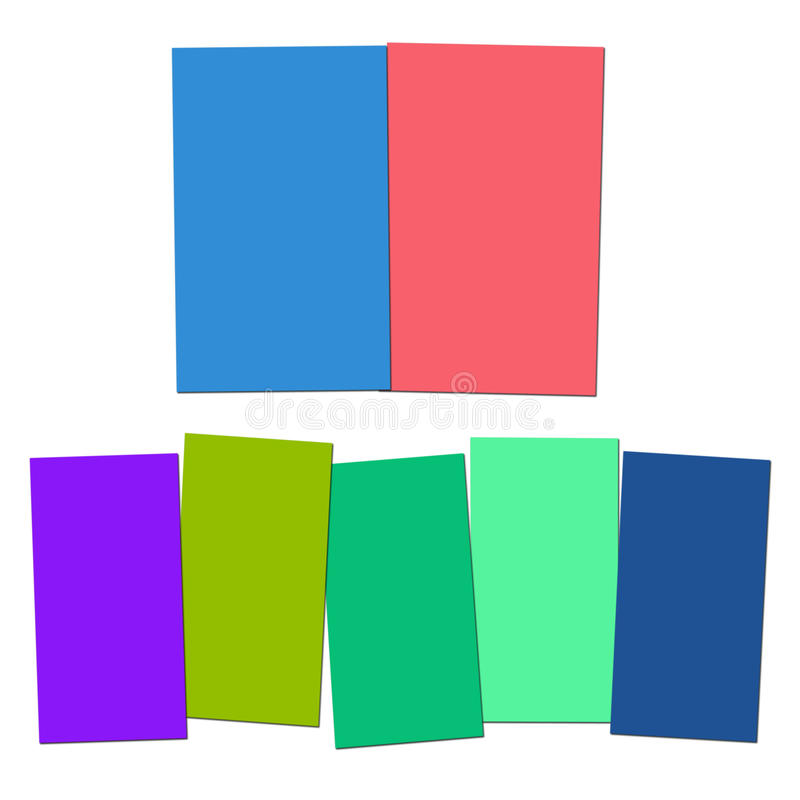 Two And Five Blank Paper Slips Show Copyspace. Two And Five Blank Paper Slips Showing Copyspace For 2 Or 5 Letter Words vector illustration
