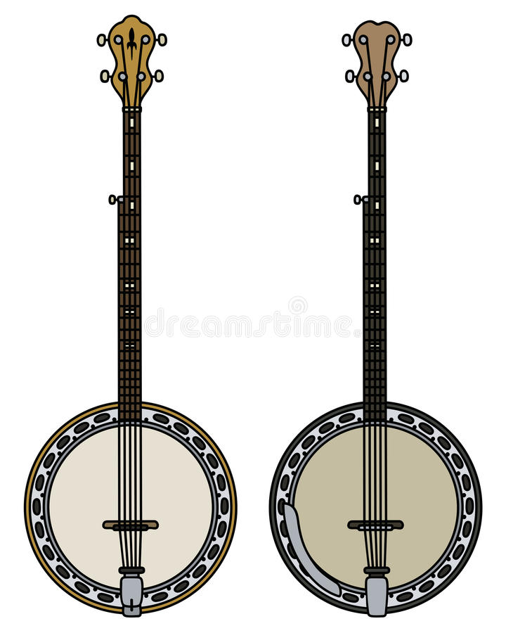 Two five string banjo. Hand drawing of two classic five string bajo stock illustration