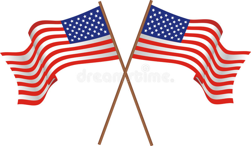 Two flags of the USA stock illustration