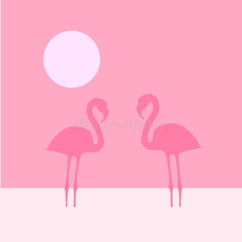 Two flamingo vector illustration