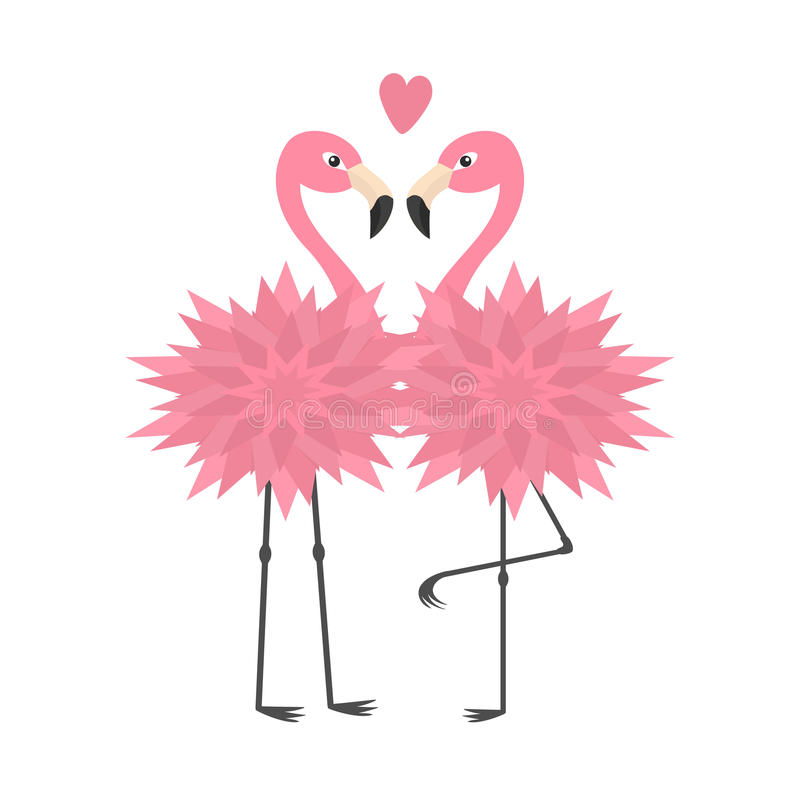 Two flamingo set. Pink heart. Flower body. Exotic tropical bird. Zoo animal collection. Cute cartoon character. Decoration element. Love card. Flat design stock illustration