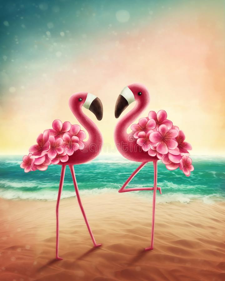 Two flamingos. On the beach vector illustration