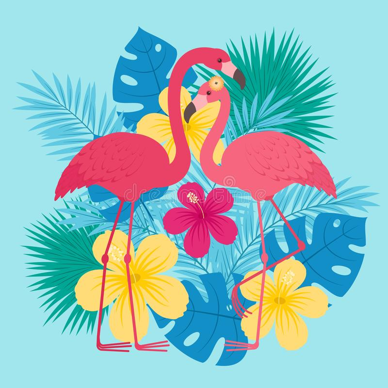 Valentine`s Day greeting card template. Two flamingos in love in front of tropical leaves and flowers. Romantic Valentine`s Day greeting card template vector illustration