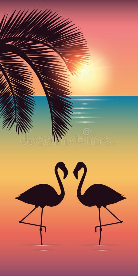 Two flamingos and palm tree silhouette on colorful beach at sunset royalty free stock photos