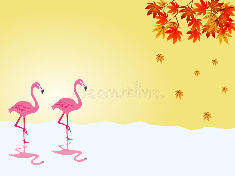 Two flamingos are walking in the water. With colorful leaves and yellow in the background stock image