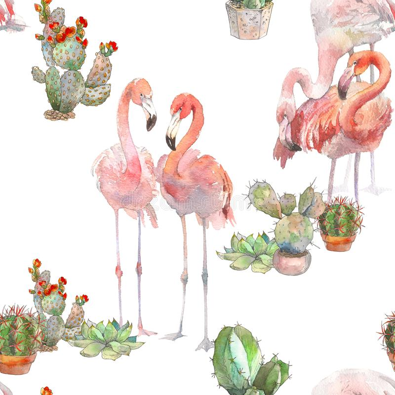 Free Two Flamingos With Cactus On White Background. Watercolor Hand Drawn Seamless Pattern. Rastra. Boho Modern Style. For Stock Image - 116328631
