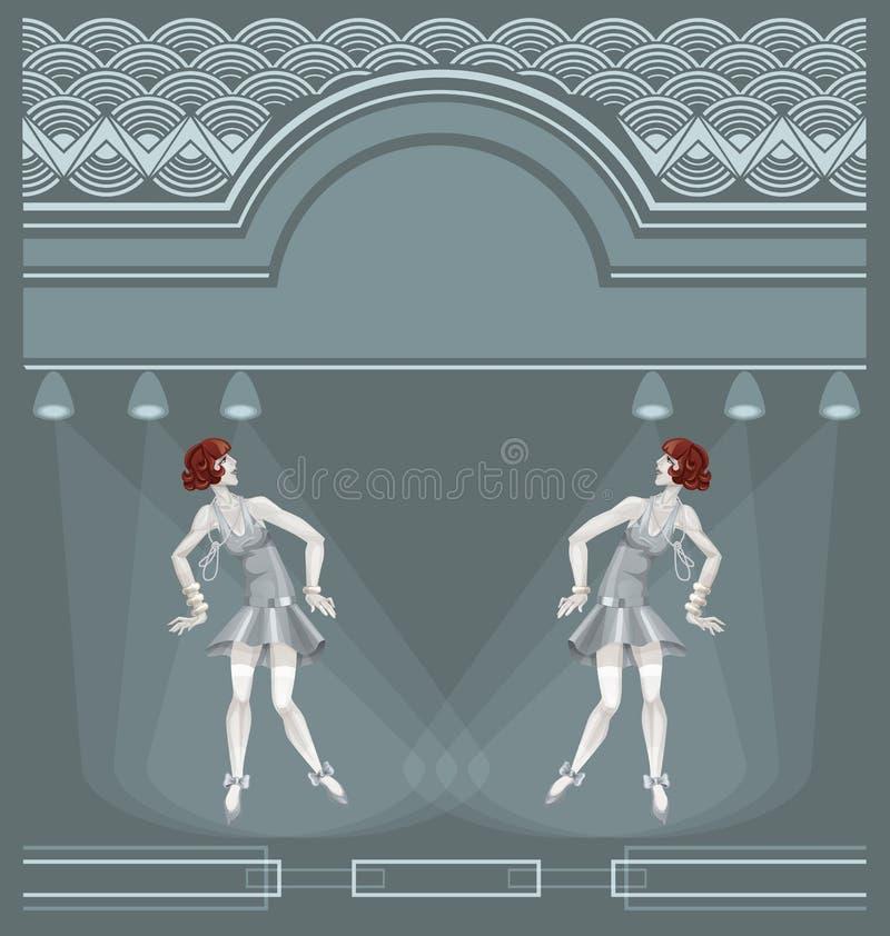 Two flapper girls on art deco background vector illustration