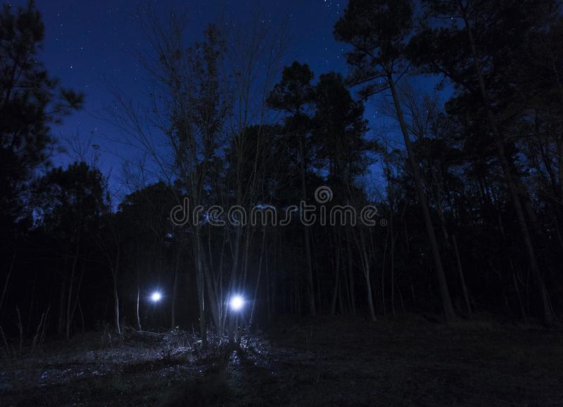 Two flashlights on a starry night royalty free stock photography