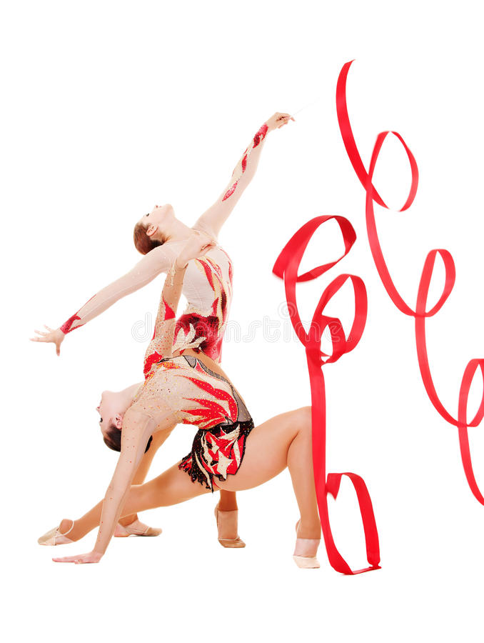 Download Two Flexible Gymnasts Dancing With Red Ribbons Stock Image - Image: 16434249