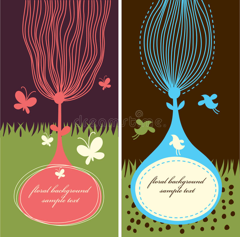 Two floral banners royalty free illustration
