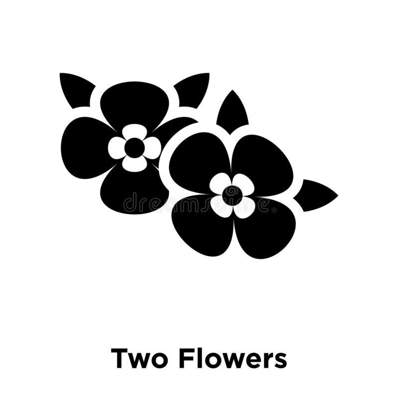 Two Flowers icon vector isolated on white background, logo concept of Two Flowers sign on transparent background, black filled. Two Flowers icon vector isolated vector illustration
