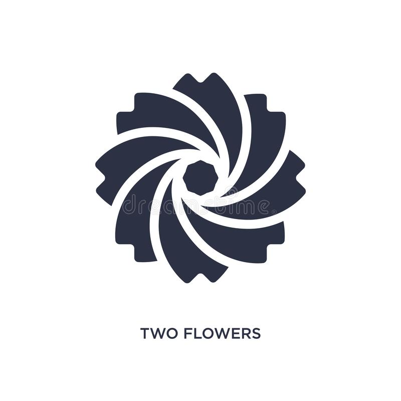 Two flowers icon on white background. Simple element illustration from ecology concept. Two flowers isolated icon. Simple element illustration from ecology royalty free illustration