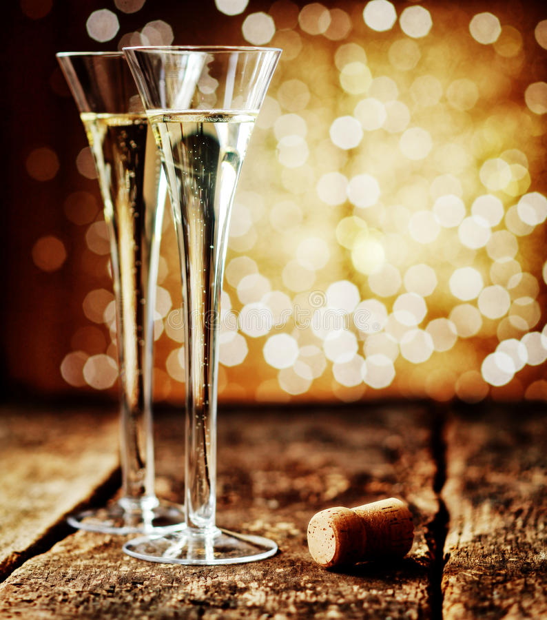Two Flutes Of Romantic Champagne Stock Photo