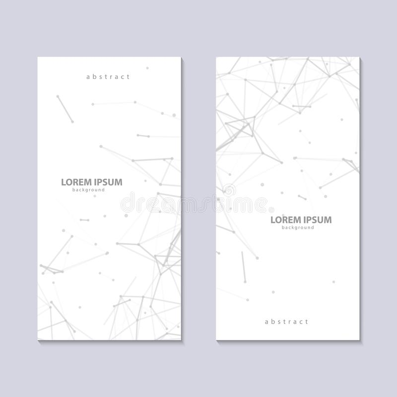 Two flyers with abstract plexus white background with grey connected lines and dots. Vector minimalistic geometric vector illustration
