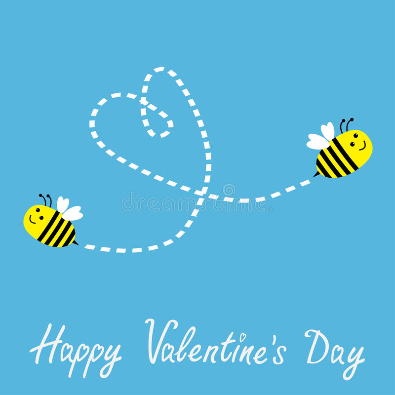 Two flying bees. Dash heart in the sky. Happy Vale. Ntines Day card. Vector illustration stock illustration
