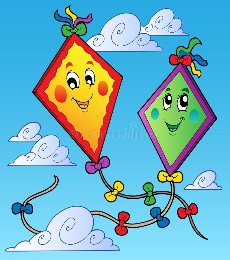 Two Flying Kites On Blue Sky Royalty Free Stock Photo