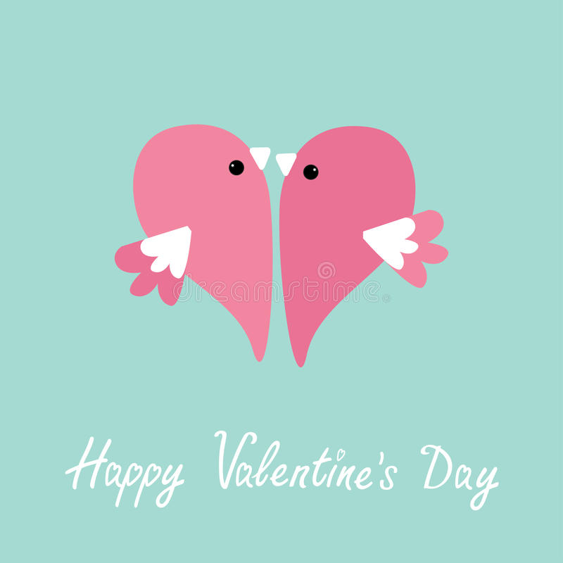 Two flying pink birds in shape of half heart. Cute cartoon character. Love card Flat design style. Happy Valentines day. stock illustration