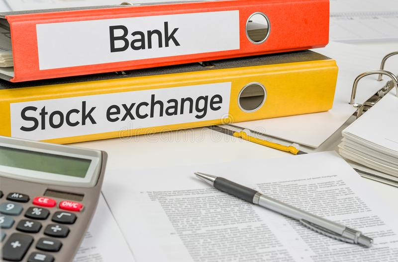Folders with the label Bank and Stock exchange royalty free stock photos