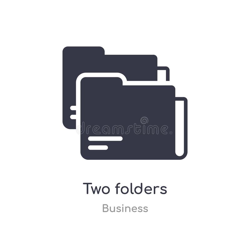 two folders outline icon. isolated line vector illustration from business collection. editable thin stroke two folders icon on vector illustration